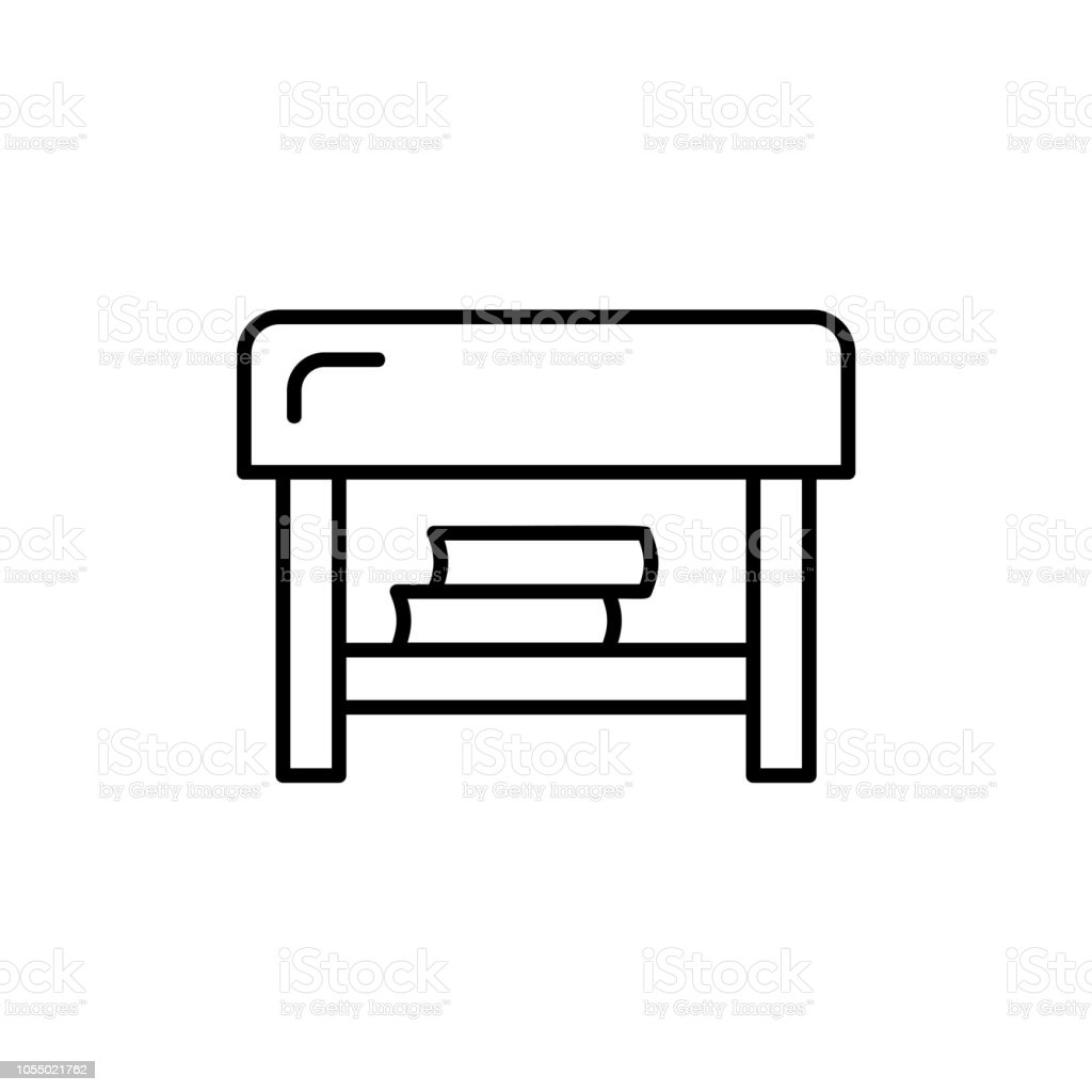 Black White Vector Illustration Of Square Ottoman Line Icon Of Coffee Table With Storage Living Room Bedroom Patio Furniture Isolated On White Background Stock Illustration Download Image Now Istock