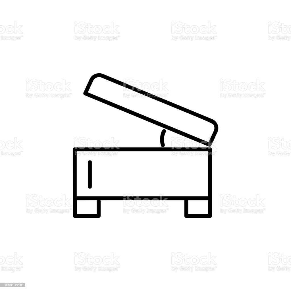 Marvelous Black White Vector Illustration Of Square Storage Ottoman Andrewgaddart Wooden Chair Designs For Living Room Andrewgaddartcom