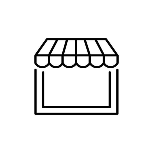 schwarzen & weiße vektor-illustration der markise schatten. liniensymbol fenster baldachin. isoliertes objekt - dachzelt stock-grafiken, -clipart, -cartoons und -symbole
