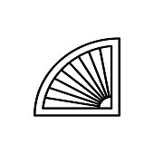 Black & white vector illustration of venetian curtain shutter. Line icon of half circle window blind jalousie. Isolated object