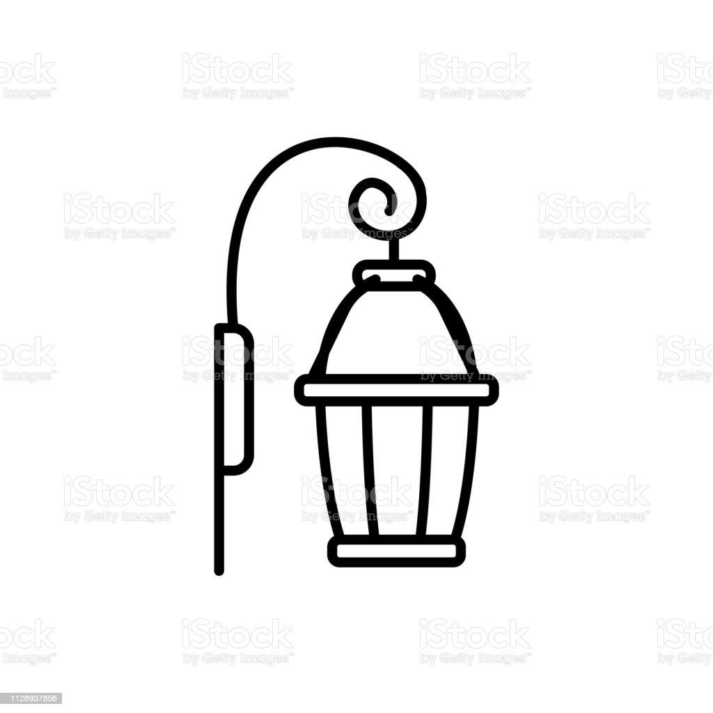 Black White Vector Illustration Of Wall Sconce Lamp Line