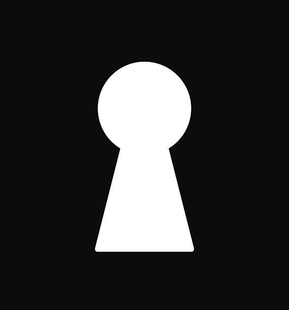 bildbanksillustrationer, clip art samt tecknat material och ikoner med black & white vector illustration with keyhole. - hål