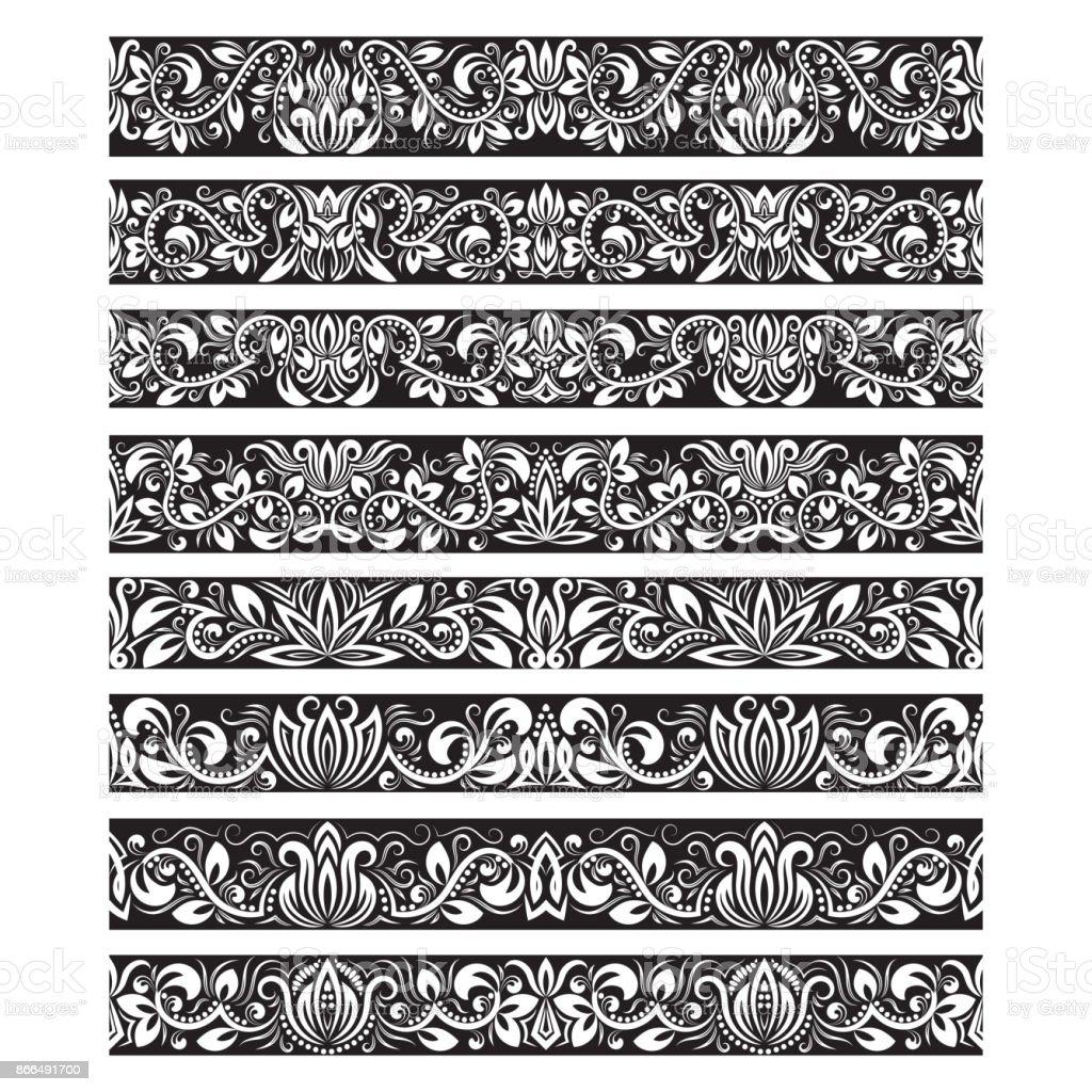 Ilustración de Elementos Vintage Blanco Negro Para Brochas ...