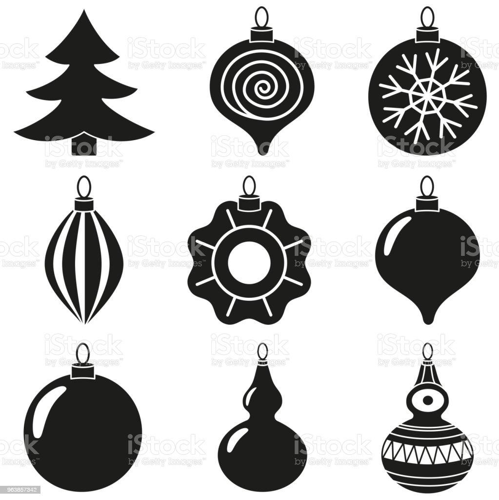 Schwarze Weiße Weihnachten Baum Dekoration Silhouette Festlegen ...