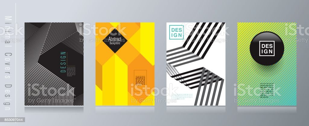 Black white yellow and blue abstract background. Minimal covers design.