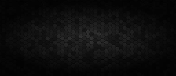 Black wide technology background Black wide technology background . Dark industrial wallpaper . hexagon stock illustrations
