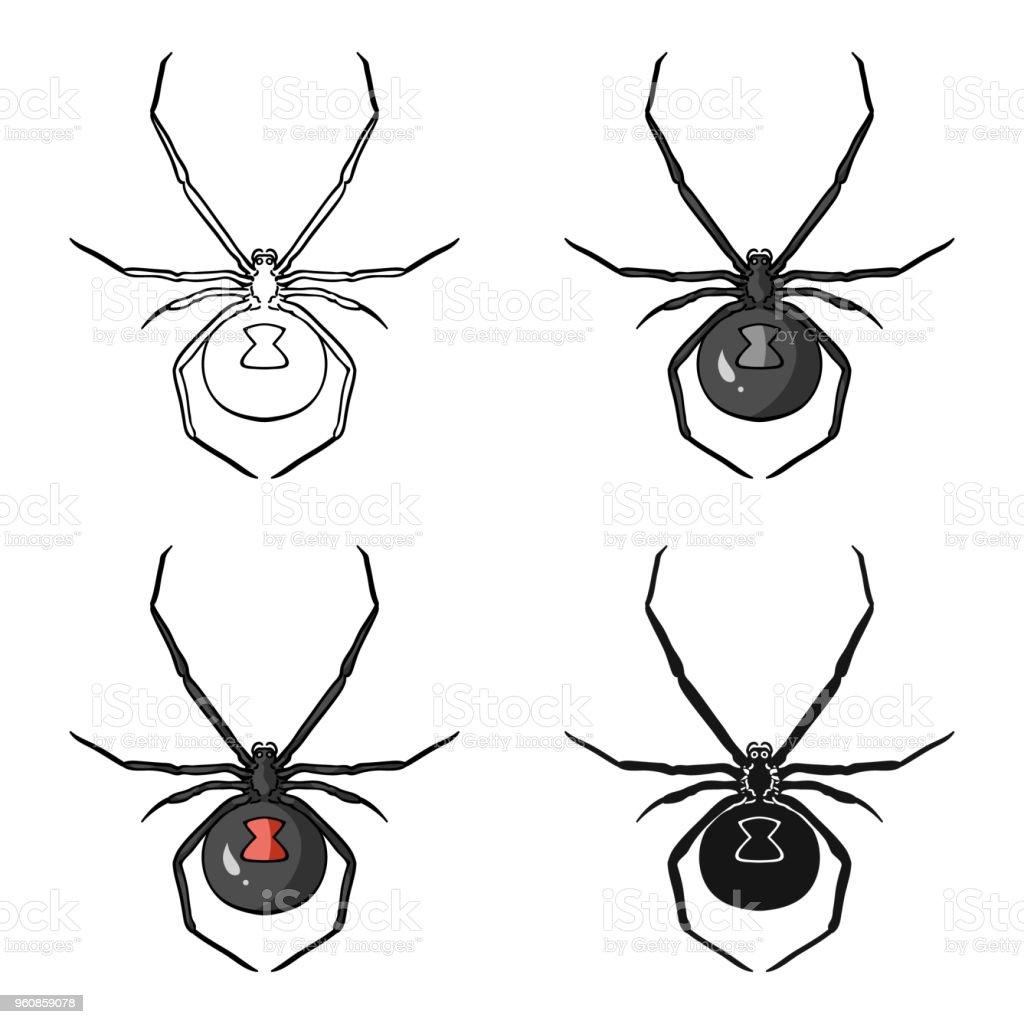 Schwarze Witwe Spinne Symbol im Cartoon-Stil, die isoliert auf weißem Hintergrund. Insekten-Symbol-Lager Vektor-Illustration. - Lizenzfrei Bein - Anatomiebegriff Vektorgrafik