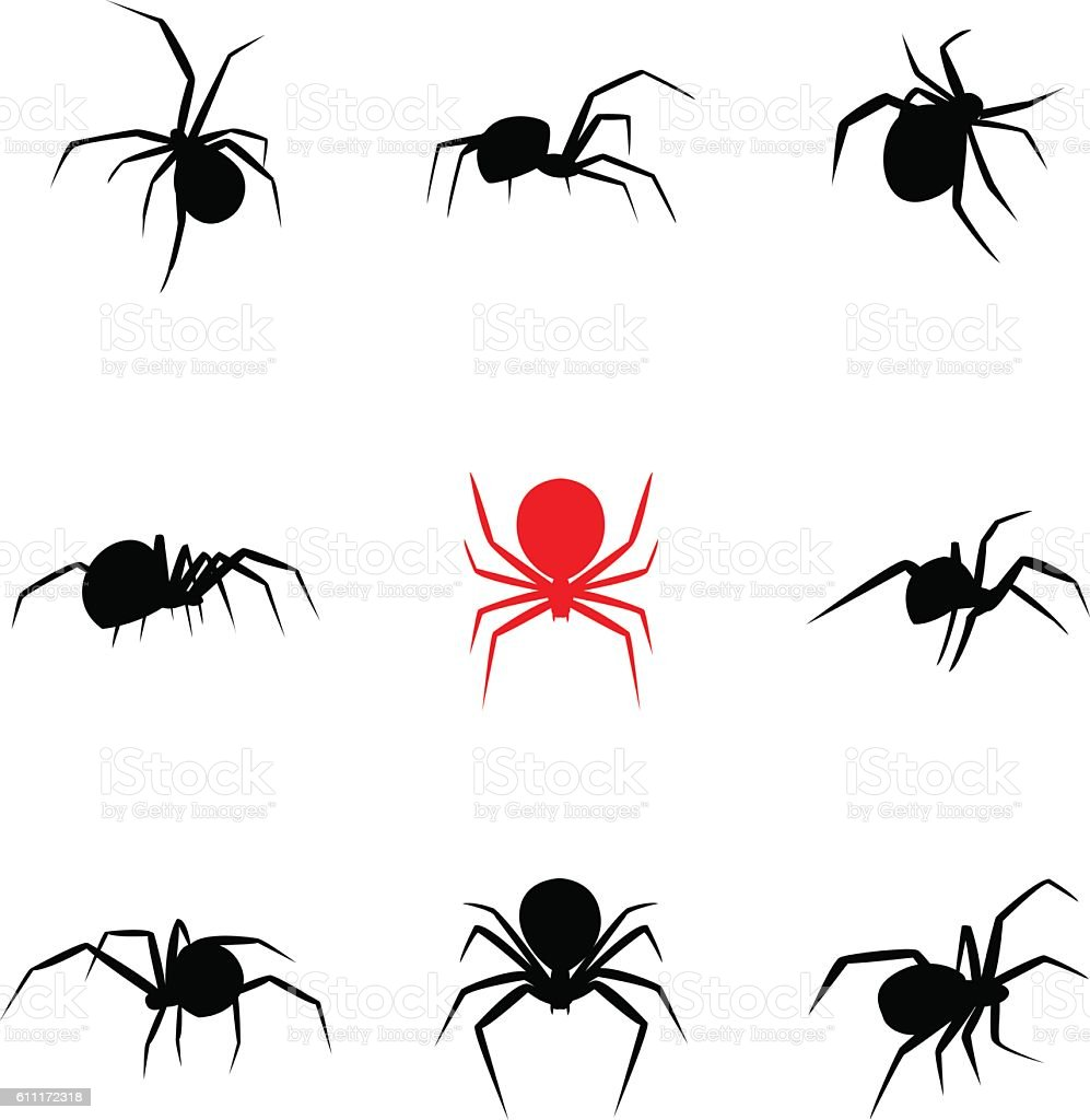 Black Widow Spider In Silhouette Style Stock Vector Art & More ...