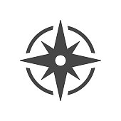 istock Black wind rose, compass vector icon isolated on white background. 1267330183