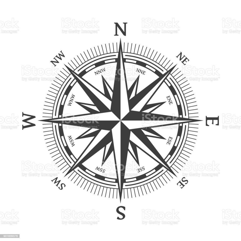 Negro rosa de los vientos. - ilustración de arte vectorial