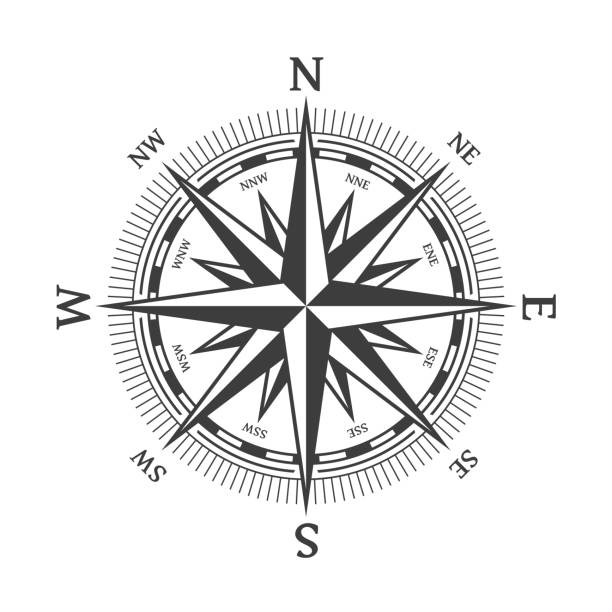 black wind rose. - compass stock illustrations