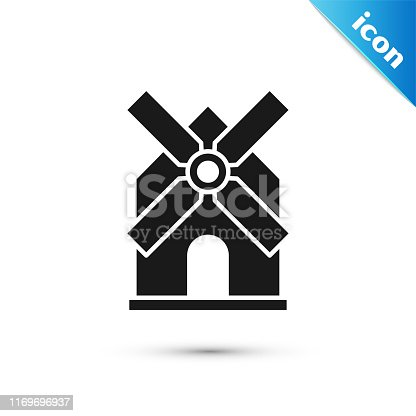 Black Windmill icon isolated on white background.  Vector Illustration