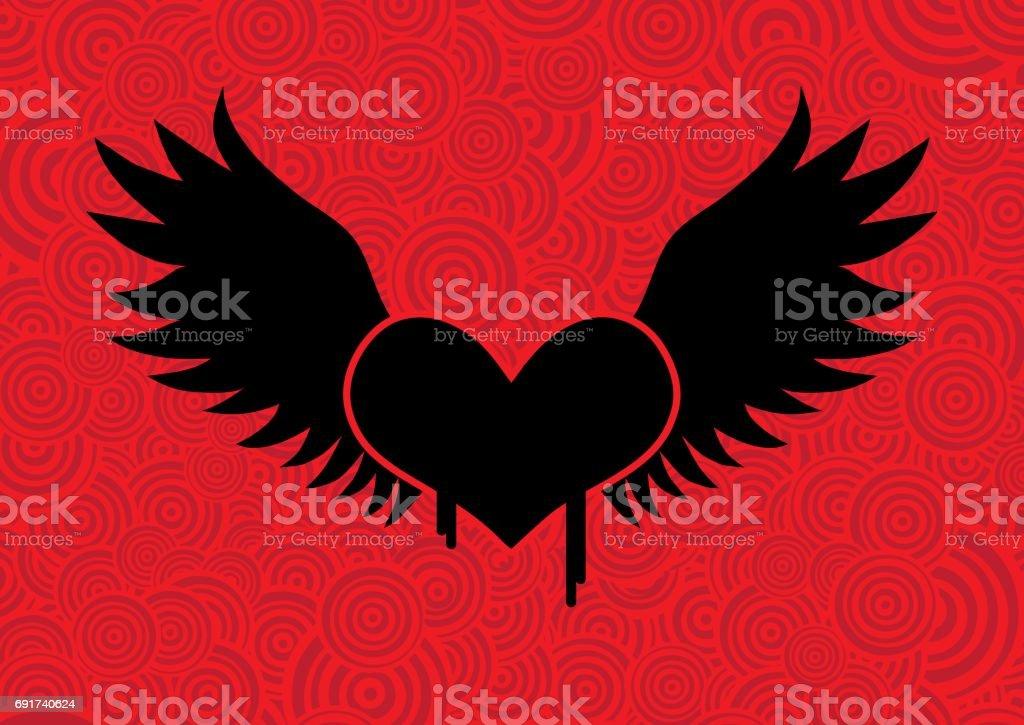 Black Winged Heart vector art illustration