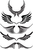 Black wings for tattoo designs