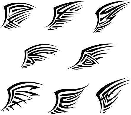 Black wings in tribal tattoo style