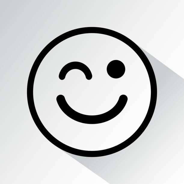 illustrazioni stock, clip art, cartoni animati e icone di tendenza di black wink face icon with shadow. vector - fare l'occhiolino