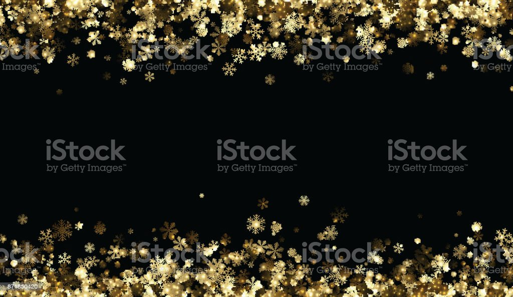 Black winter background with golden snowflakes. vector art illustration