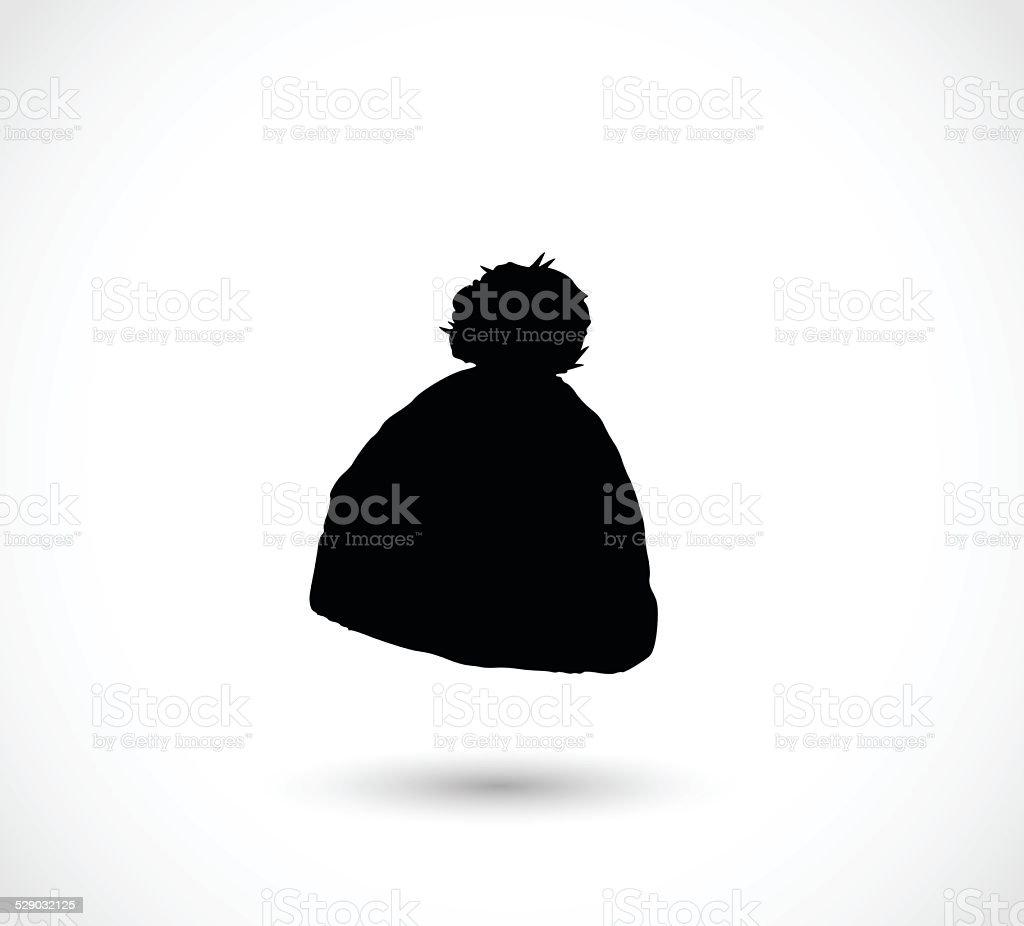 Black winter hat icon vector vector art illustration