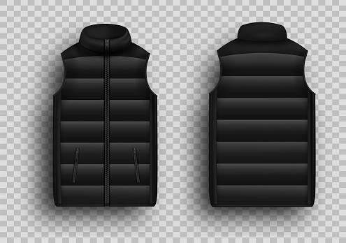 Black winter puffer vest, sleeveless jacket mockup set, vector illustration. Realistic down vest, front and back view.