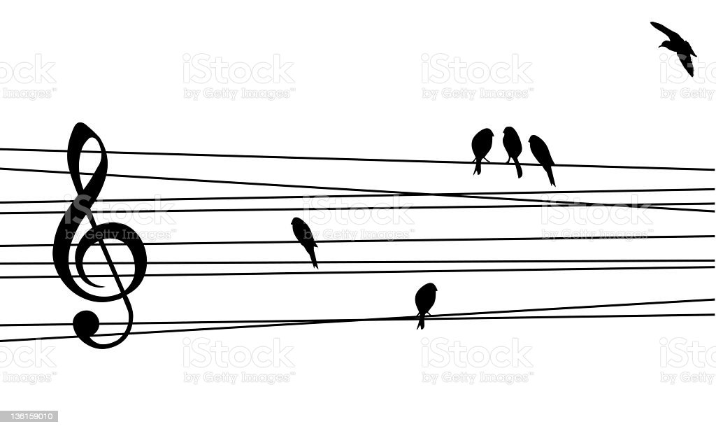 Black wire and birds as music staff and notes royalty-free stock vector art