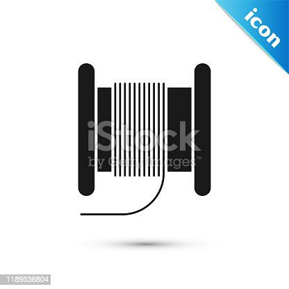 Black Wire electric cable on a reel or drum icon isolated on white background.  Vector Illustration