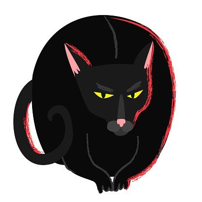 Black witch cat in cartoon flat style. Halloween creepy grumpy cat. Hellcat