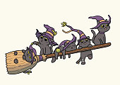 Vector illustration of five black cats wearing witch hat and flying on a broomstick. Cats and broom separated in their respective layers in the vector file.