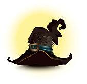 Black witch hat brown halloween background