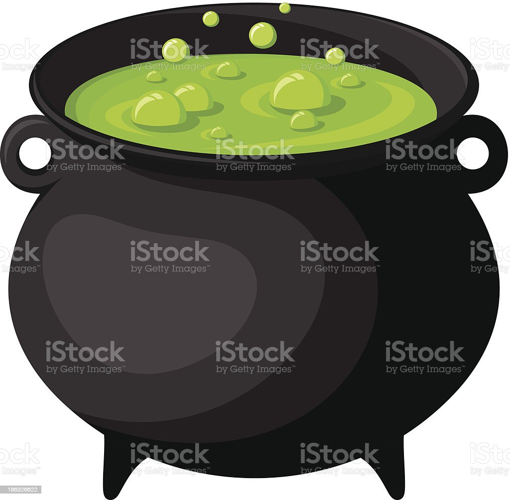Black witches cauldron with potion. Vector illustration. vector art illustration