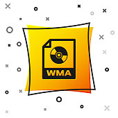 Black WMA file document icon. Download wma button icon isolated on white background. WMA file symbol. Wma music format sign. Yellow square button. Vector Illustration