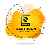 Black WMA file document icon. Download wma button icon isolated on white background. WMA file symbol. Wma music format sign. Fluid color banner. Vector Illustration