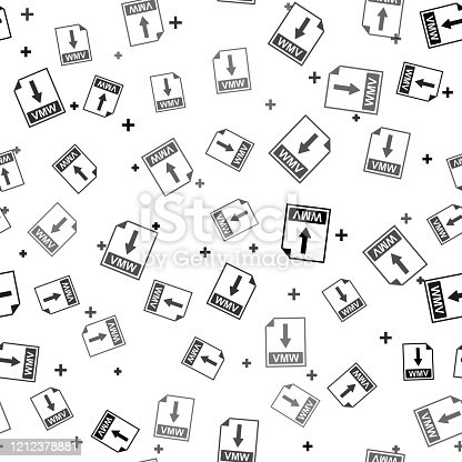 Black WMV file document icon. Download WMV button icon isolated seamless pattern on white background. Vector Illustration