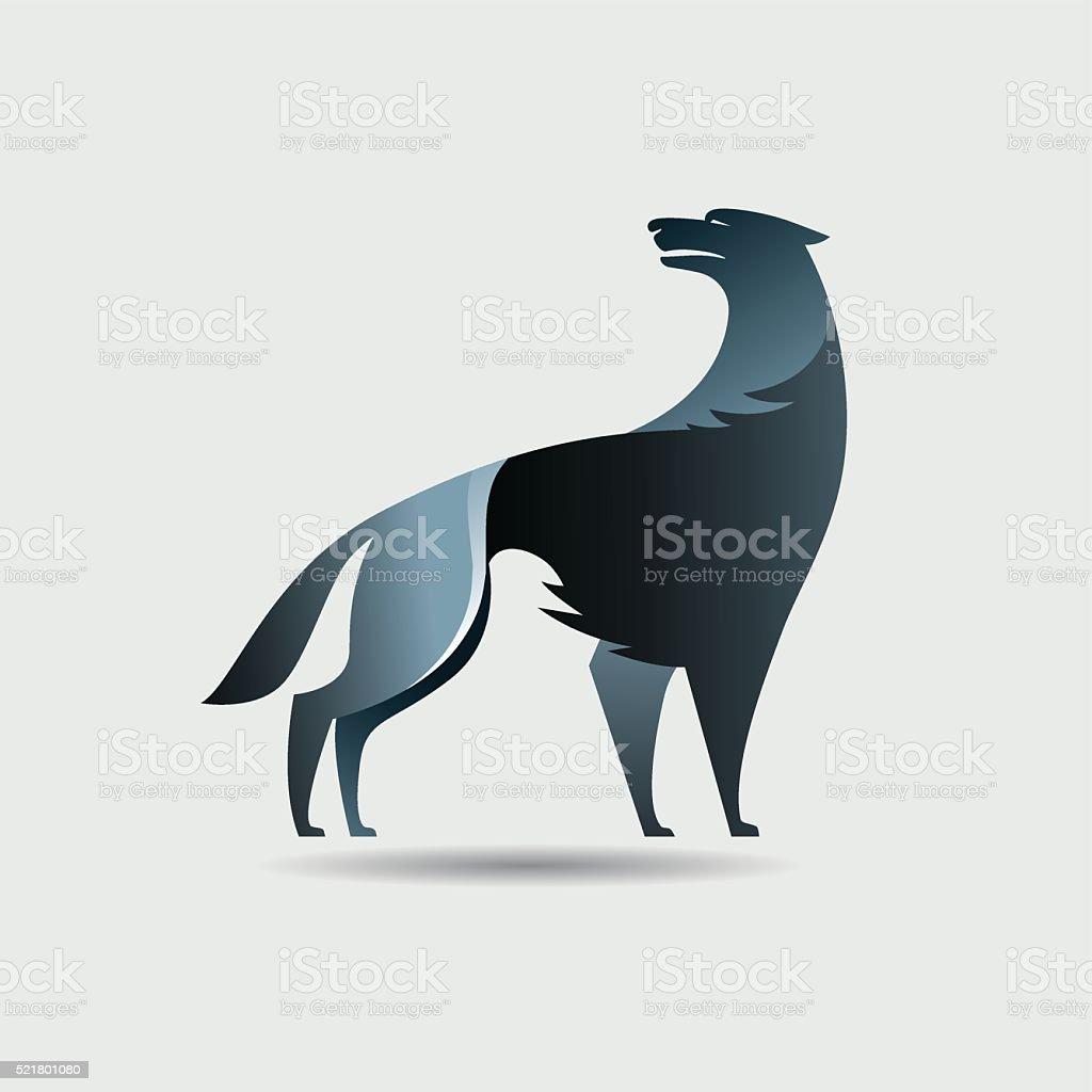 Black wolf icon vector art illustration