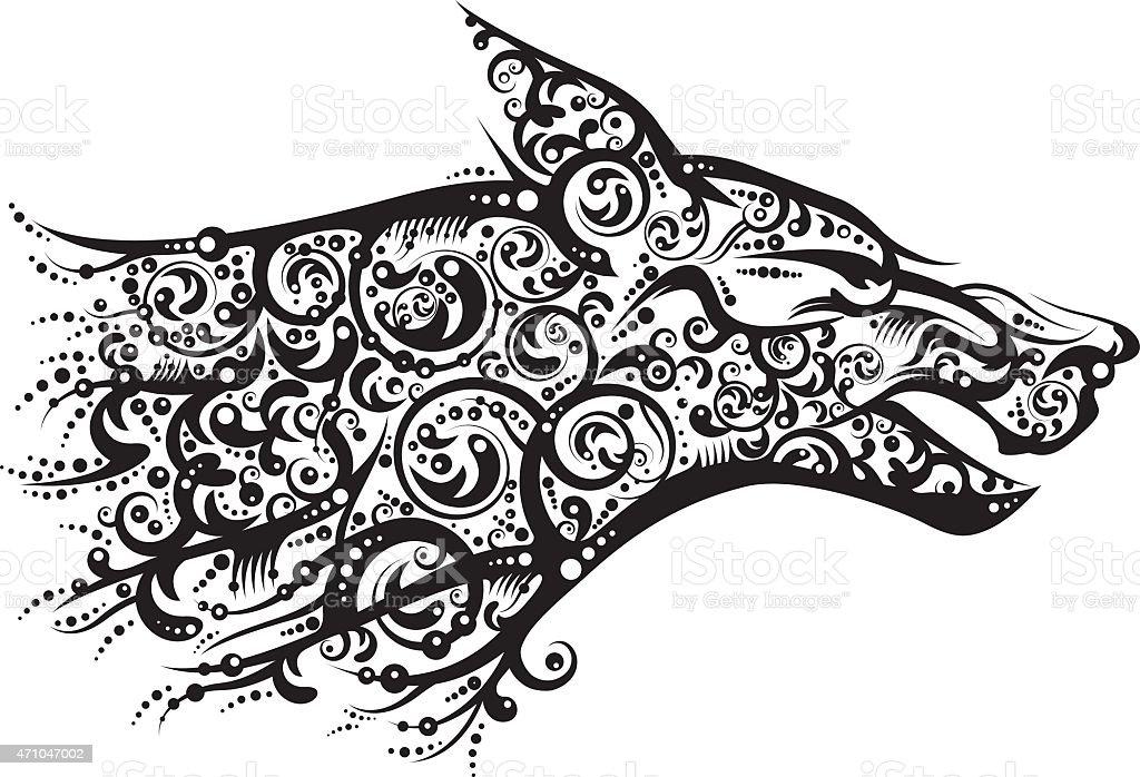 Black wolf ornate stylized head vector art illustration