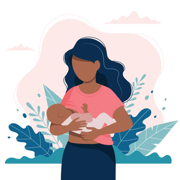 Black woman breastfeeding a baby with nature and leaves background. Concept vector illustration in flat style. vector art illustration