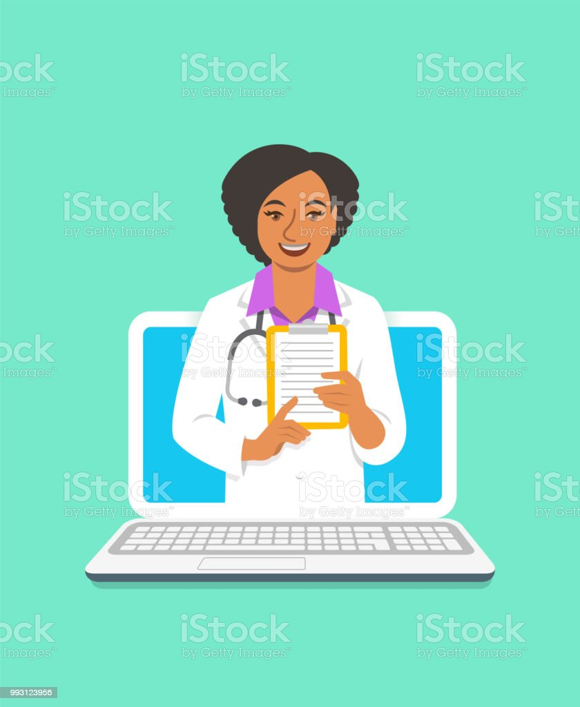 Black woman doctor online consultation concept vector art illustration