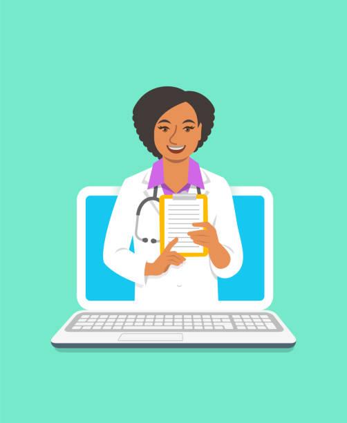 illustrazioni stock, clip art, cartoni animati e icone di tendenza di black woman doctor online consultation concept - dottoressa