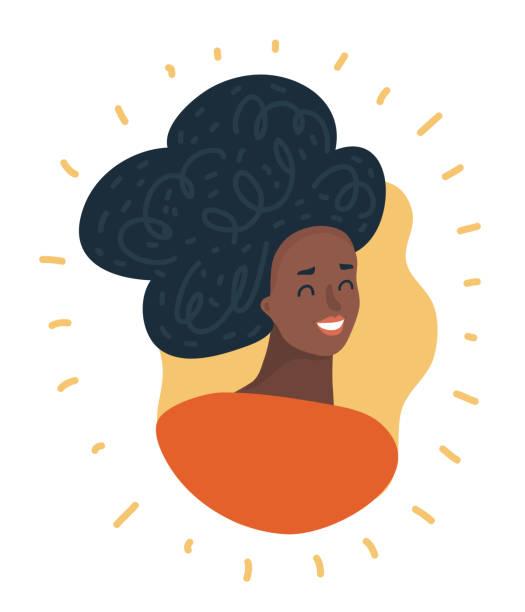 stockillustraties, clipart, cartoons en iconen met zwarte vrouw gezicht. african american girl. avatar. - curly brown hair