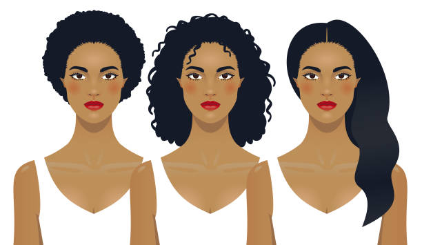 Black woman hair Black woman hair from thick afro to straight long hair. curly hair stock illustrations