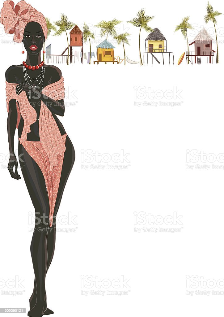 Black woman in turban vector art illustration