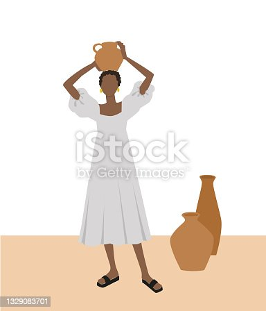 istock Black woman is holding a vase 1329083701