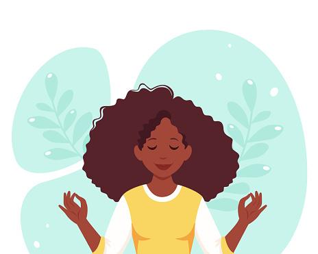 Black woman meditating. Healthy lifestyle, yoga, meditation, relax, recreation. Vector illustration.