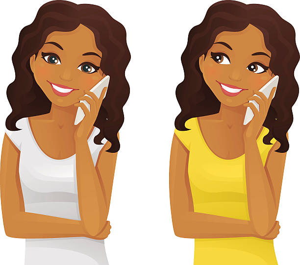 Royalty Free Girl Looking At Phone Clip Art, Vector Images