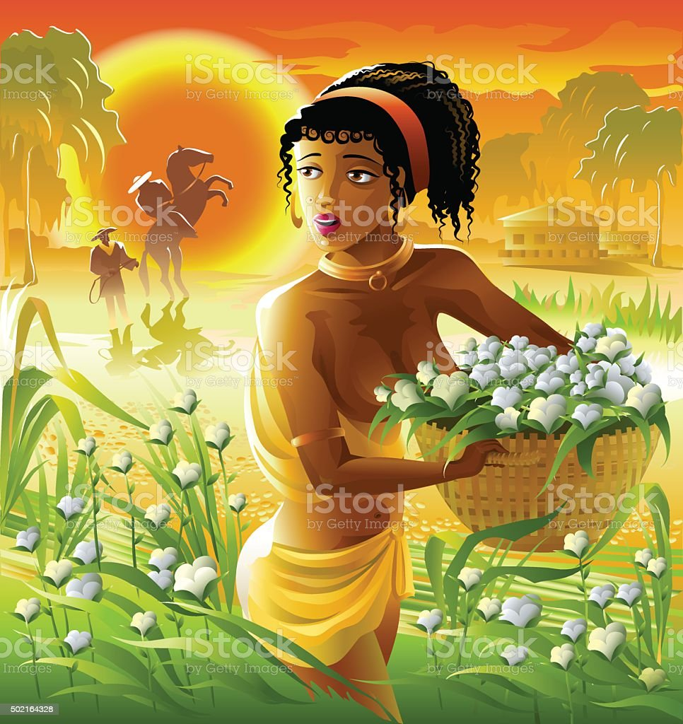black woman slave on a cotton plantation. vector art illustration