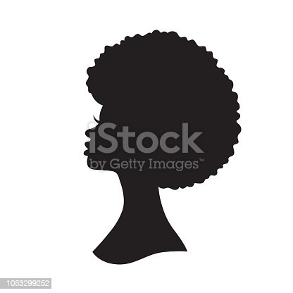 Vector illustration of black woman with afro hair silhouette. Side view of African American woman with natural hair.