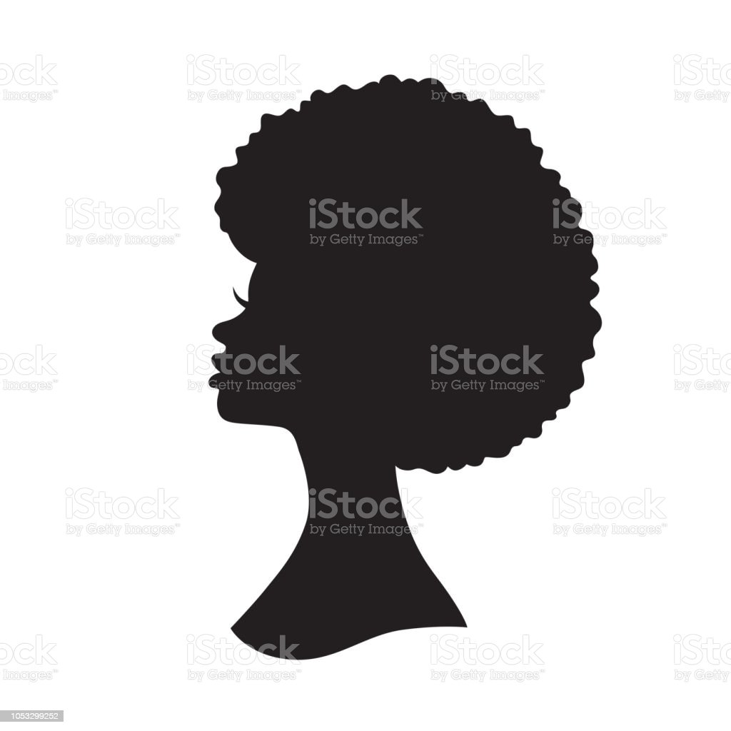 Black Woman with Afro Hair Silhouette Vector Illustration vector art illustration
