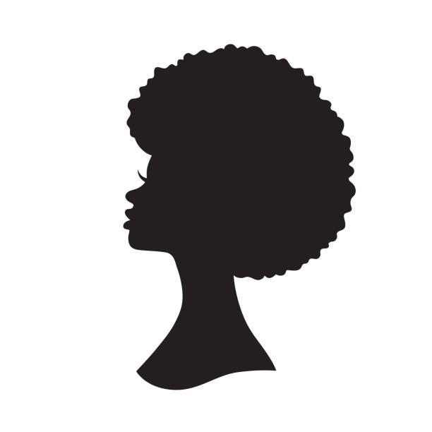 Black Woman with Afro Hair Silhouette Vector Illustration - ilustração de arte vetorial