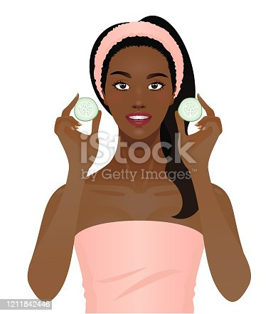 istock Black woman with cucumber slices 1211842446