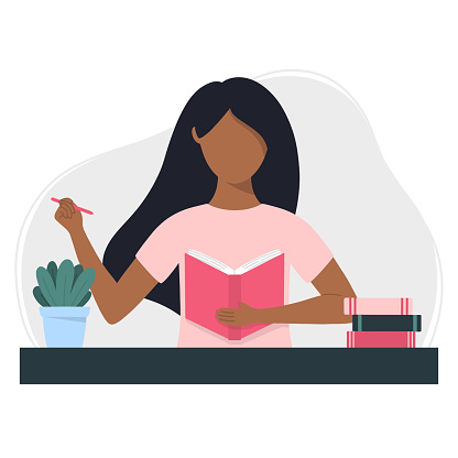 Black woman writes in a notebook. Planning, studying, writing or reading concept. Flat style vector illustration.