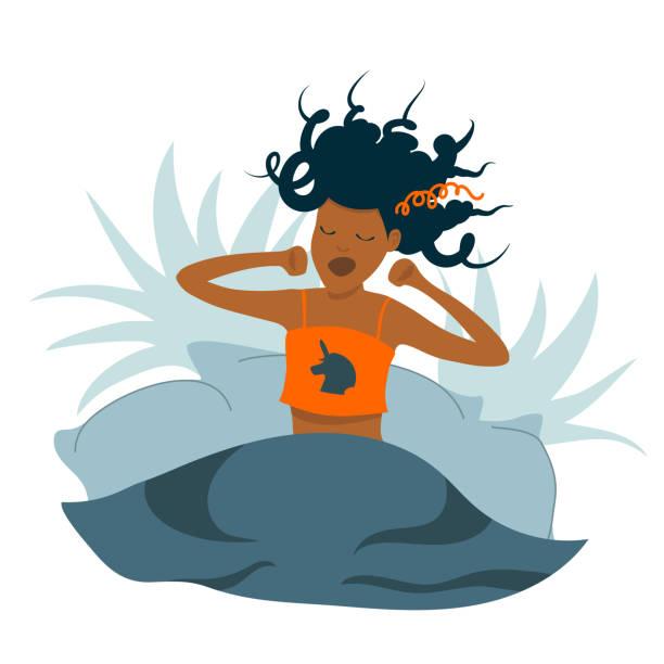 ilustrações de stock, clip art, desenhos animados e ícones de black woman yawning and stretching in bed - unicorn bed